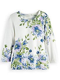 Alfred Dunner® Asymmetrical Flower Sweater