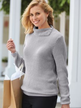Split-Neck Shaker Sweater