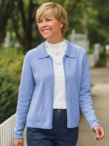 Tweed Textured Zip-Front Cardigan - Image 1 of 4