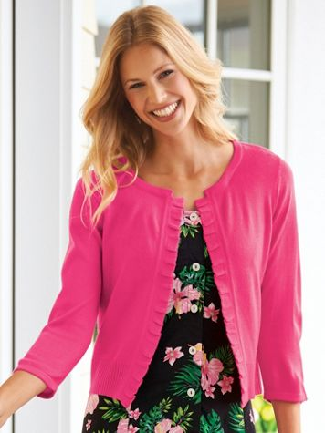 Ruffle Front Cardigan Sweater - Image 1 of 7