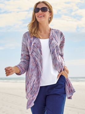 Spaced-Dyed Open-Front Cardigan