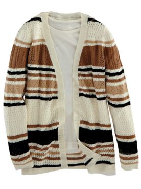 Striped Pointelle Sweater Cardigan