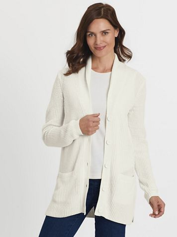 Shawl-Collar Shaker Cardigan Sweater - Image 1 of 9