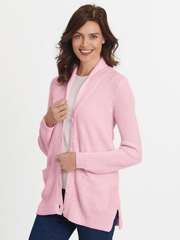 Shawl-Collar Shaker Cardigan Sweater - Image 1 of 7