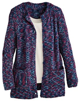 Speckled Marled Button-Front Cardigan Sweater