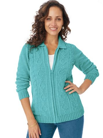 Zip-Front Chenille Cardigan Sweater - Image 1 of 4
