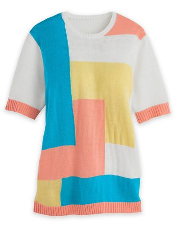 Short-Sleeve Colorblock Sweater - Image 2 of 2