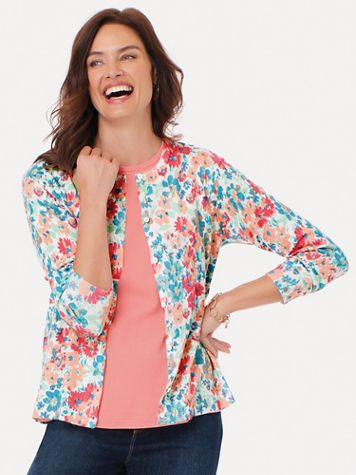 Everyday Three-Quarter Sleeve Button-Front Cardigan - Image 1 of 5