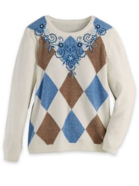 Alfred Dunner® Argyle Embroidered Sweater