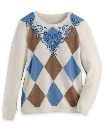 Alfred Dunner® Argyle Embroidered Sweater - Image 2 of 2