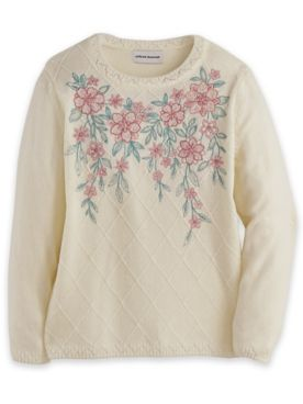 Alfred Dunner® Chenille Embroidered Diamond Sweater