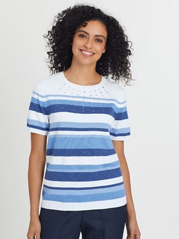 Alfred Dunner Short-Sleeve Stripe Sweater - Image 1 of 4