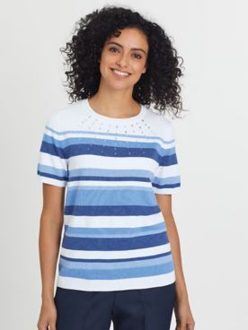 Alfred Dunner Short-Sleeve Stripe Sweater