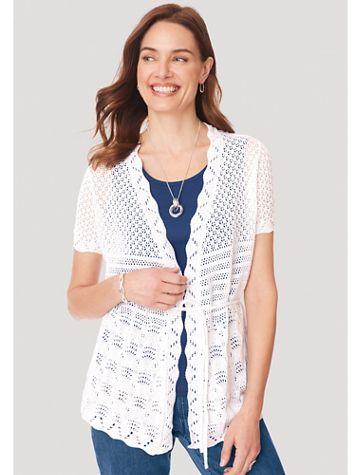 Short-Sleeve Tie-Waist Cardigan Sweater - Image 1 of 1
