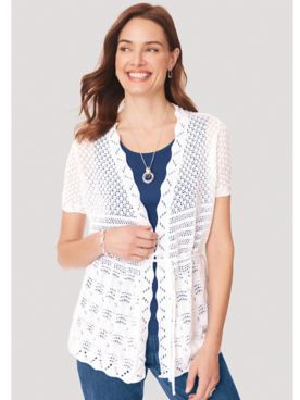 Short-Sleeve Tie-Waist Cardigan Sweater