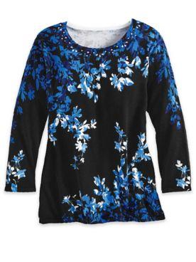 Alfred Dunner Long-Sleeve Asymmetric Flowers Sweater