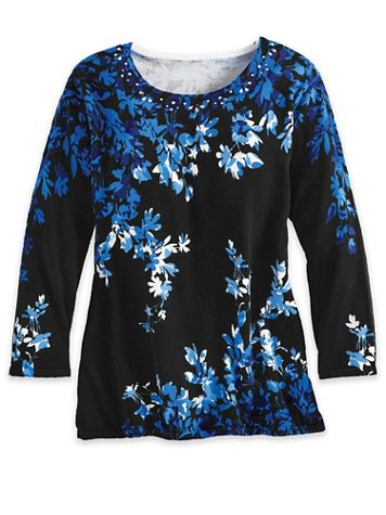 Alfred Dunner Long-Sleeve Asymmetric Flowers Sweater - Image 2 of 2