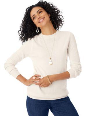 Elisabeth Williams Long-Sleeve Cashmere-Like Crewneck Sweater
