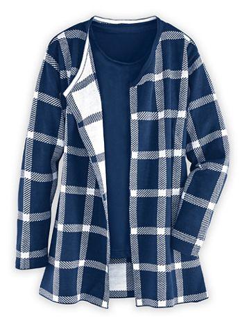 Plaid Coatigan Sweater Coat - Image 1 of 3