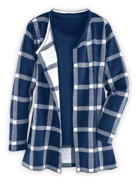 Plaid Coatigan Sweater Coat
