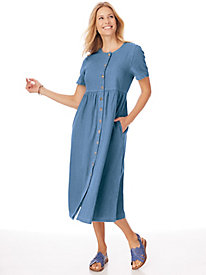 Denim Button-Front Dress by Blair