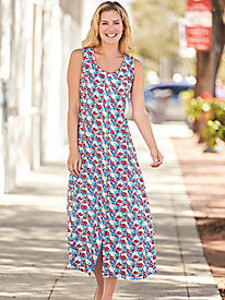 Smocked Back Print Dress