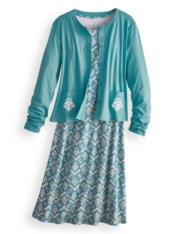 Long-Sleeve Knit Jacket Dress - Image 2 of 2