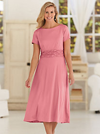 Ruched Dress With Lace