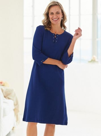Three-Quarter Sleeve Lace-Up Knit Dress - Image 1 of 4