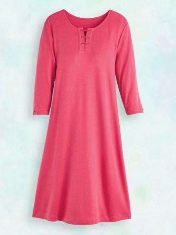 Three-Quarter Sleeve Lace-Up Knit Dress - Image 2 of 2