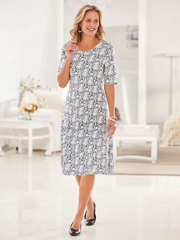Elisabeth Williams® Lace Puff Print Dress - Image 1 of 5