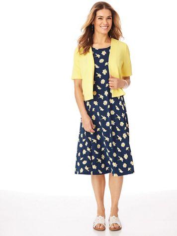 Short-Sleeve 2-Piece Novelty Jacket Dress - Image 2 of 3