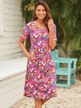 Print Scoopneck Dress With Pockets