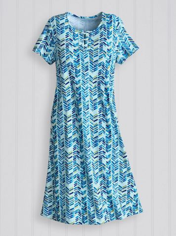 Print Essential Lace-Up Knit Dress - Image 1 of 1