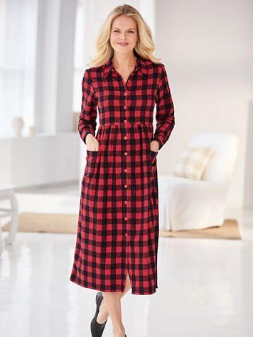 Midi Long-Sleeve Flannel Dress - Image 1 of 4