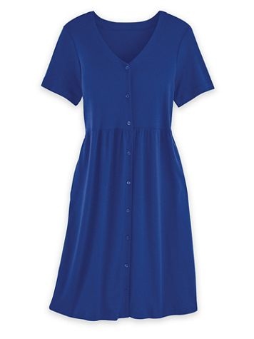 Short-Sleeve Button-Front Knit Dress - Image 1 of 4