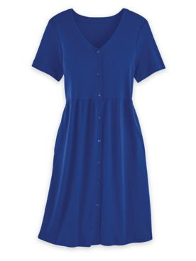 Short-Sleeve Button-Front Knit Dress