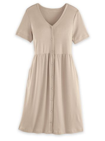 Short-Sleeve Button-Front Knit Dress - Image 2 of 2