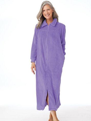 Cozy Knit Plush Zip Robe - Image 1 of 6