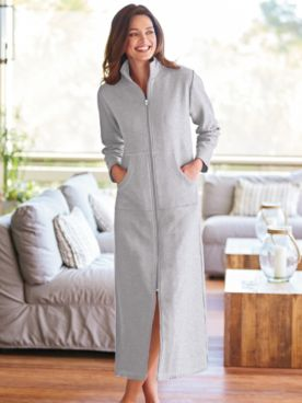 Long Zip-Front Fleece Robe