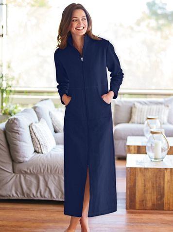 Long Zip-Front Fleece Robe - Image 2 of 2
