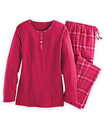 Flannel Trimmed Pajama Set