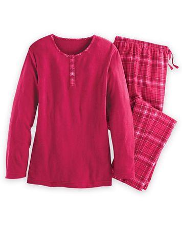 Flannel-Trimmed Pajama Set - Image 1 of 4