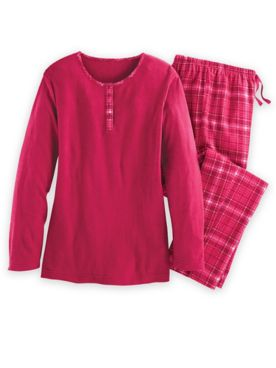 Flannel-Trimmed Pajama Set