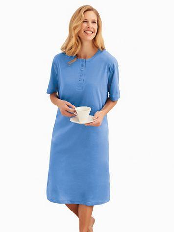 Short-Sleeve Long Henley Nightshirt  - Image 1 of 7