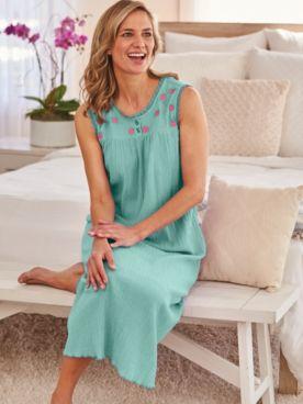 Embroidered Gauze Nightgown
