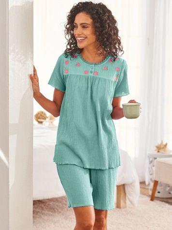 Embroidered Gauze Short Pajamas - Image 1 of 1