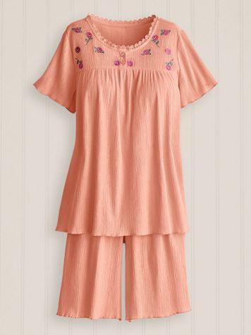 Embroidered Gauze Short Pajamas