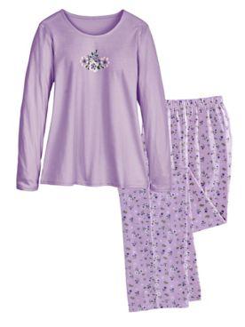 Long Floral-Print Pajamas