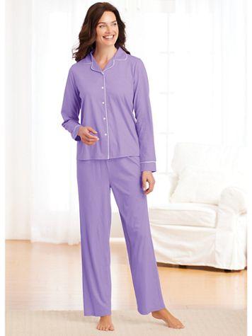 Satin-Trim Pajamas - Image 1 of 3